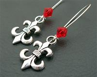 The Scarlet Jester earrings: antiqued-silver fleur-de-lys charms with red crystals