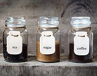 Set of 3x Mason Jar Labels - Tea, Coffee & Sugar