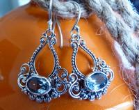 Delicate filigree blue topaz earrings