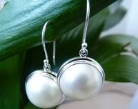 White mabe pearl earrings