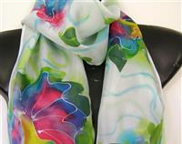 ORCHID SUMMER SILK SCARF HAND PAINTED NEW ZEALAND MADE