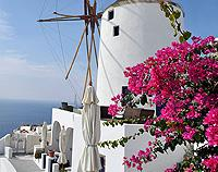 Windmill at Oia, Santorini, Greece - Canvas Print