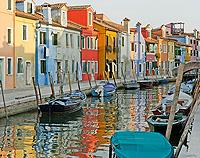 On the Canal at Burano, Venice, Italy - Canvas Print