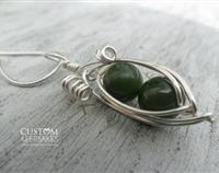 Sterling Silver and Nephrite Jade (Greenstone) Wire Peapod