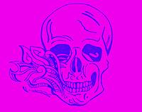 Smoking Skull (pink) Framed Print