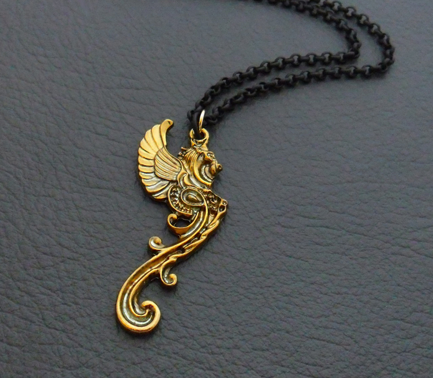 Discover me silverlight jewellery golden gargoyle necklace golden gargoyle necklace antiqued gold mythical beast pendant on gold and black chain aloadofball Gallery