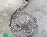 Recycled Sterling Silver Handmade Wire Necklace Traditional New Zealand Maori Koru or Spiral - Purity Truth Hope