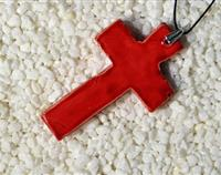 Red Ceramic Cross Necklace
