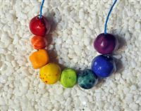 Rainbow colours hand made ceramic beads