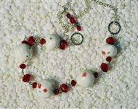 Unique hand made white and red ceramic bead necklace