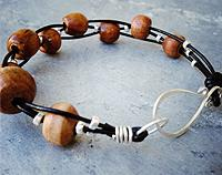Wooden beaded bracelet - Sterling silver beads and simple handmade silver clasp - Recycled rimu wood from Christchurch Earthquake