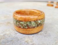Recycled Rimu Bentwood Wedding, Eternity or Anniversary Ring with Greenstone Pounamu Inlay - Native New Zealand Wood - Custom Size