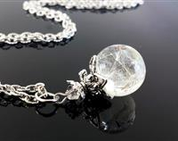 Dandelion Fairy wishes - Resin orb with Antiqued Silver