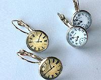 Clock and watch face glass silver plated earrings