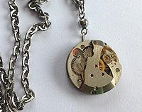 Altered timepiece - elegant silver petite watch movement silver plated chain