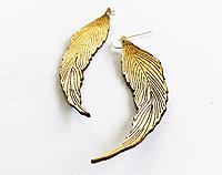 Leather Feather Earrings - Metallic GOLD, SILVER or ROSE GOLD