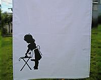 Girl Ironing Tea Towel with vintage print