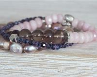 Stack of Pinks and Purples, Fresh Water Pearls, Smoky Quartz, Pink Faceted Jade and Fire Polished Czech Glass.