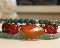 Stack of Fire Agate Gemstones, Turquoise Czech Glass Beads and Pale Blue Indonesian Handmade Beads