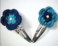 Crochet Hair Clips Blue