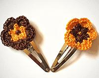 Crochet Hair Clips Orange & Brown