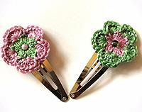 Pink & Mint Green Crochet Hair Clips