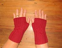 Red Fingerless gloves with Celtic cable for women
