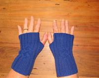 Women's Cobalt Blue Fingerless gloves with Celtic Cable