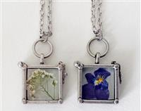 Funky Flower Locket - Dried Violet or Alyssum