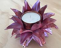 Double Petal Copper Tea Light holder - Small