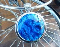 Deep blue dyed paua shell pendant