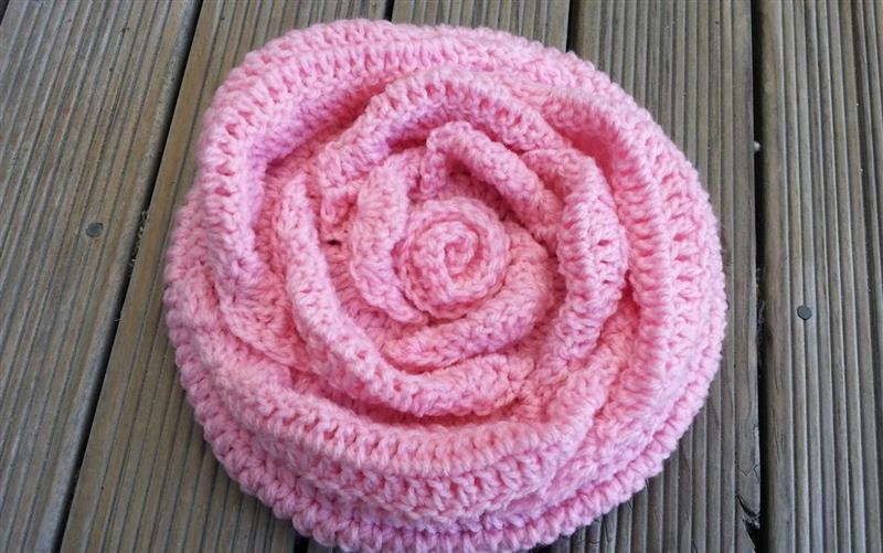 8165803f7 Pink Rose Crochet Hat