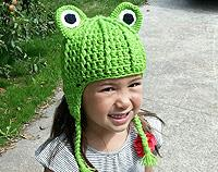 Green Frog Child's Crochet Hat