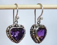 Silver Amethyst Heart Earrings
