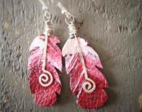 Kaka Feather Earrings - Recycled Leather