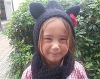 Black Cat Hood with Scarf