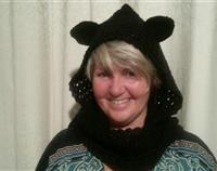 Crochet Black Cat Hood with Scarf