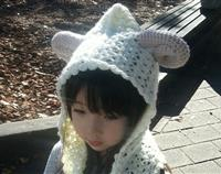 Crochet sheep hood with scarf
