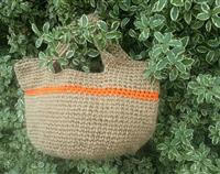 Crochet Hemp Yarn Bag with Orange Detail