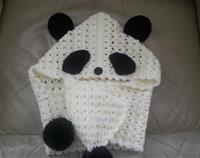 Crochet Panda Hood with Scarf