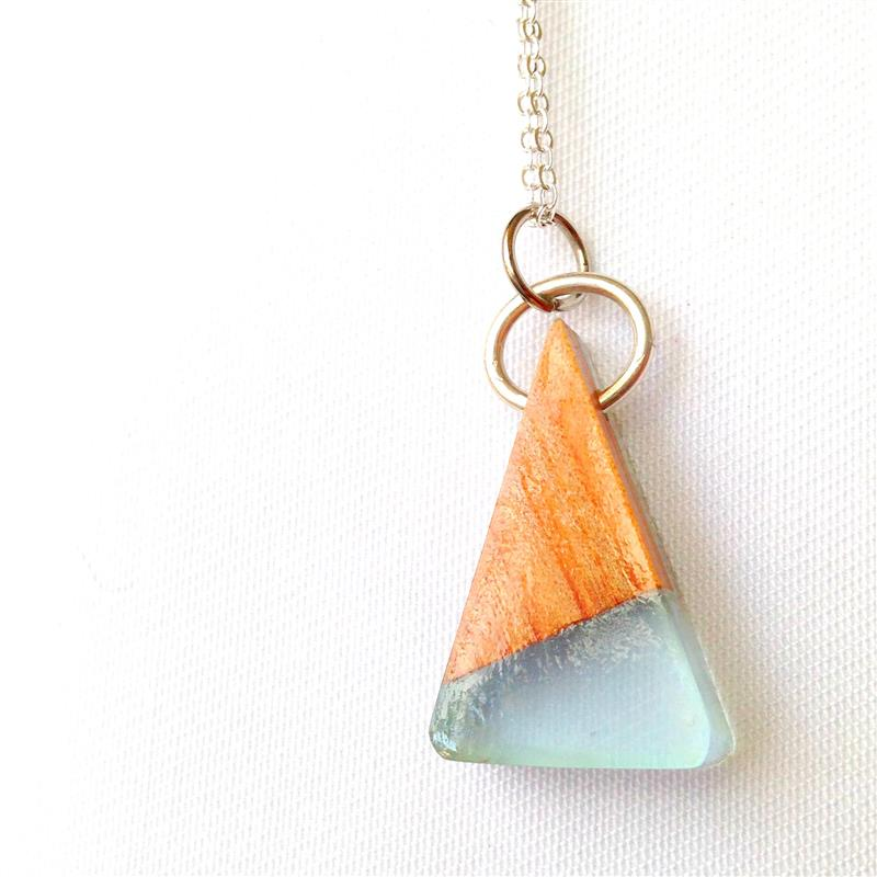 Blue or Yellow Bio-Resin and Recycled Wood Small Triangle Pendant with  Sterling Silver and Silver Plated Chain