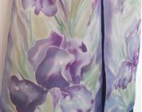 IRIS Flower, New Zealand, Iris SILK SCARF, Hand painted, Pastels, mauve, purple, blue, Handmade Gift for her, 27cm x 150cm.