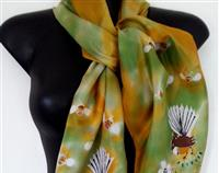 FANTAIL Birds, Manuka Honey, Bees, New Zealand, Hand painted SILK Scarf, Handmade, Gold, honey, green, Habotai Silk 28 x 150cm A perfect Mother's Day Gift.