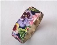 Floral Fabric Covered Bangle - Pansy