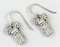 Small Pure Silver Kimono Earrings