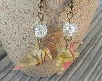 Japanese Origami Crane Hook Earrings yellow
