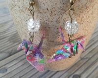 Japanese Origami Crane Hook Earings pink mixed