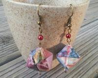 Japanese Origami Cube Hook Earings mixed colour