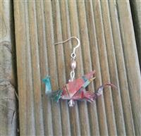 Japanese Origami Dragon Hook Earrings