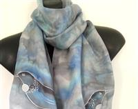 New Zealand Tui BIRD, SILVER SILK Scarf, Hand Painted Tui Bird Scarf, Blue and Aqua Blush, Marbled Silver, Kiwiana Made Gift, Handmade gift
